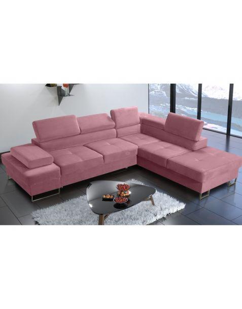 Kampinė sofa GLAXY I 276x225 su miegojimo mechanizmu ir patalynės dėže