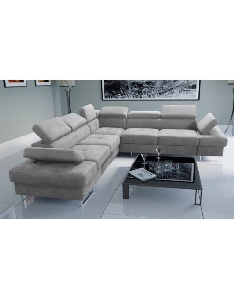 Kampinė sofa GLAXY MAX 280x280 su miegojimo mechanizmu ir patalynės dėže