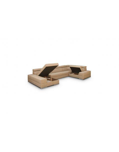 Kampinė sofa ROYAL MAX II corner 185x375x230 su miegojimo mechanizmu ir patalynės dėže